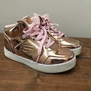 Skechers Energy Light Up Shoes Rose Gold Size 1